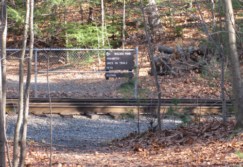 railroad tracks and sign for Walden property