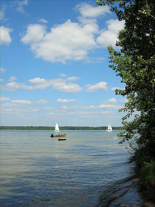 a sailboat on Alum Creek Lake